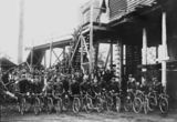 Picture relating to Howard - titled 'Miners on bicycles in Howard'