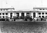 Picture of / about 'Parliament House' the Australian Capital Territory - Armistice Day, Old Parliament House front steps with RMC [Royal Military College] Cadets and spectators.