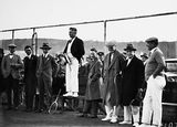 Picture of / about 'Canberra' the Australian Capital Territory - Dr Earle Page speaking at the opening of the new Canberra Tennis Association Central Courts, Manuka.