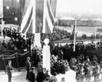 Picture relating to Parliament House - titled 'Royal Visit, May 1927 -Front Steps and crowds at Old Parliament House from the east.'
