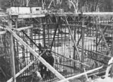 Picture relating to Black Mountain - titled 'Excavation for Black Mountain reservoir showing steel reinforcement and concrete form work'