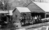 Picture relating to Canungra - titled 'Workers pose for a photograph at Canungra Sawmill, 1918'