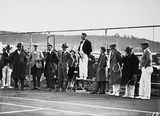 Picture relating to Manuka - titled 'Dr Earle Page speaking at the opening of the new Canberra Tennis Association Central Courts, Manuka.'
