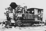 Picture relating to Buderim - titled 'Steam tram on tramlines in Buderim, ca.1930'