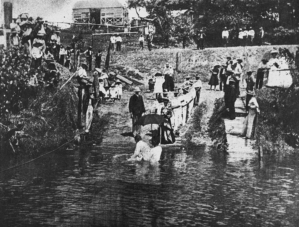 Picture of / about 'Johnstone River' Queensland - South Sea Islander boys being baptised in the Johnstone River, Queensland, ca.1906