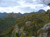 Picture relating to Warrumbungle National Park - titled 'Views to Crater Bluff, The Breadknife and Bluff Mountain'