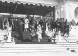 Picture relating to Parliament House - titled 'Duke and Duchess of York and Prime Minister S M Bruce on Old Parliament House steps for the Royal Review'