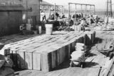 Picture relating to Thursday Island - titled 'Busy wharf loading with crates, Thursday Island, Queensland, ca. 1948'