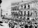 Picture relating to Brisbane - titled 'Lord Lamington leaves the Treasury Building after reading the Proclamation of the Commonwealth, Brisbane, 1901'