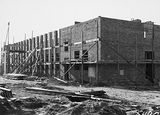 Picture relating to Black Mountain - titled 'CSIR Administration and Laboratory Building, Clunies Ross Street, Acton Black Mountain under construction.'