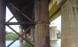 Picture relating to Parramatta River - titled 'Under the rail bridges, Parramatta River, Rhodes'