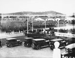 Picture of / about 'Parliament House' the Australian Capital Territory - Royal Visit, May 1927 - Light horsemen riding past Army troops outside Old Parliament House during rehearsal.