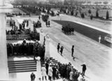 Picture relating to Parliament House - titled 'Opening of the 16th Parliament, Canberra - Governor-General taking the salute in front of Old Parliament House with Light Horse escort.'