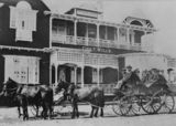 Picture relating to Beaudesert - titled 'Horsedrawn carriage in front of the Grand Hotel in Beaudesert, ca. 1911'