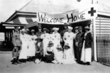 Picture relating to Helidon - titled 'Group of soldiers and nurses being welcomed at the railway station, Helidon, ca. 1918'