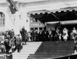 Picture of / about 'Bruce' the Australian Capital Territory - Royal Visit May 1927 - Prime Minister Rt Hon S M Bruce welcoming the Duke and Duchess of York, on the steps of Old Parliament House.