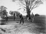 Picture relating to Acton - titled 'Five golfers teeing off on the 9th tee at the Acton Golf Club'
