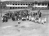 Picture relating to Barton - titled 'Assembly of pupils at Telopea Park School, New South Wales Crescent, Barton.'